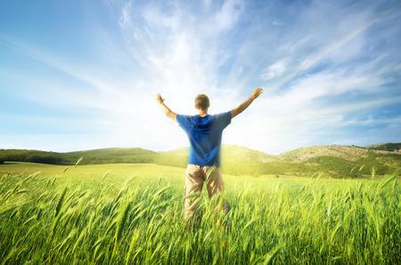 Man in green meadow of wheat. Emotional scene. Stockfoto