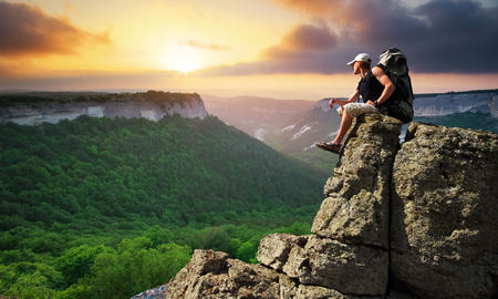 top mountain: Man on top on mountain