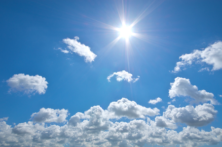 cloudy sky: Deep blue sky and summer sun. Nature airscape.