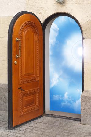 Door to freedom. Conceptual design. Stock Photo