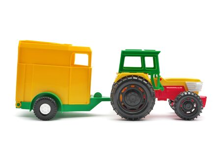 Toy tractor isolated. Element of design. Stock Photo