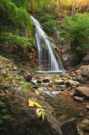 rill: Waterfall and rill flow. Nature composition.