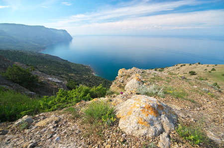 tranquillity: Mountain sea landscape. Composition of nature. Stock Photo