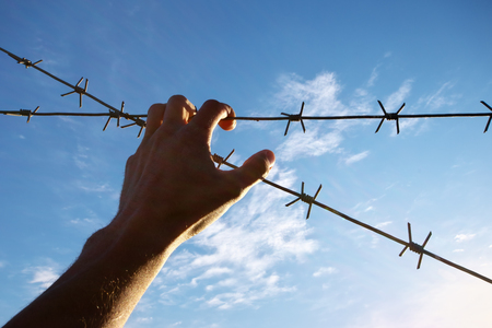 Hand of prison and sky background. Conceptual scene. Stock Photo
