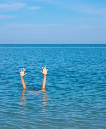 Man sink in water. Element of design.