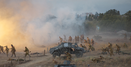 Sevastopol, Crimea, RUSSIA - SEPTEMBER 17, 2016: Military-historical festival in Crimea. Battle for Sevastopol