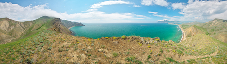 Sea and mountains spring bay big panorama. Nature landscape composition. Stock Photo