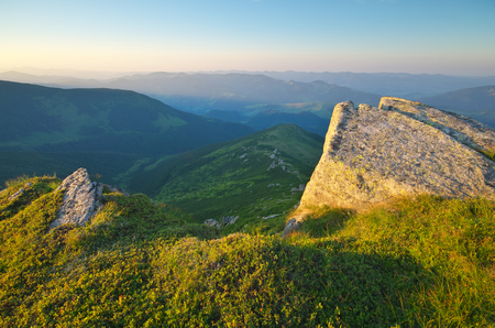 Mountain sunset landscape. Composition of nature.