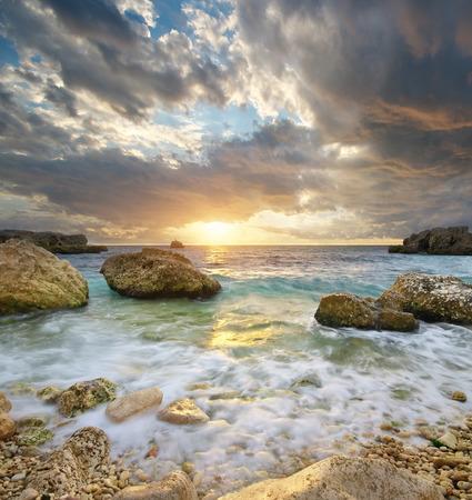 Beautiful seascape. Sunset on the sea. Composition of nature. Stock Photo