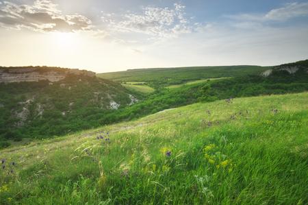 Mountain panorama landscape. Nature compositioin.