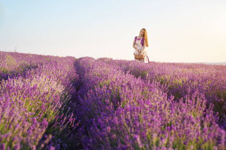 Cute girl collect lavender on meadow at sunset. Nature and pepople scene. Imagens