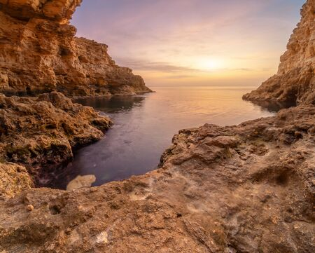 Inside of mainsail. Beautiful nature grotto seascape composition. Stock Photo