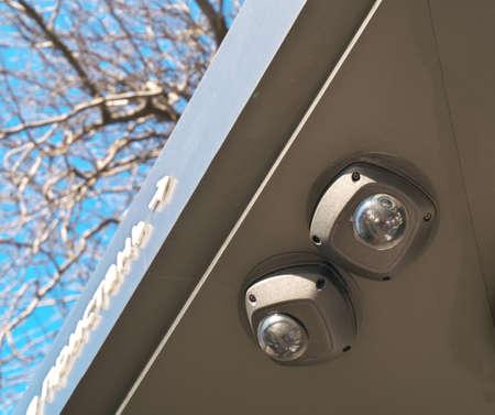 Camera surveillance. Surveillance camera at a bus stop
