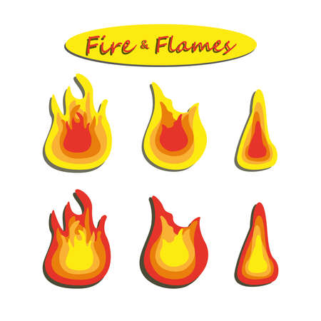 Flames icon over white background vector illustration. Set of fire flame icons isolated on white background. Energy concept.