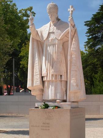 pio: statue of Pope Pio XII in the Marian shrine of Fatima in Portugal  Editorial