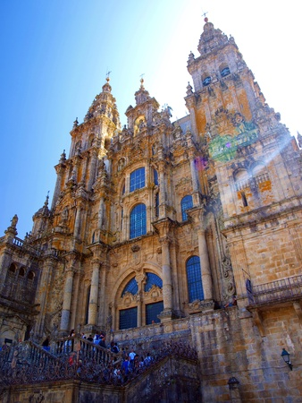 The impressive building of the Cathedral of St. James in Santiago de Compostela in Spain