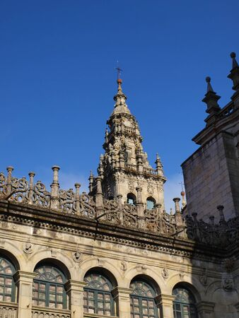 Fragment of the tower of the cathedral of Santiago de Compostela in Spain, many pilgrimages