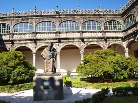 Monument Gallaecia Fvlget, founder of the University of Santiago de Compostela in the Senate del Palacio de Fonseca