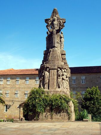 st  francis: Cross of St. Francis in Santiago de Compostela in Spain Stock Photo