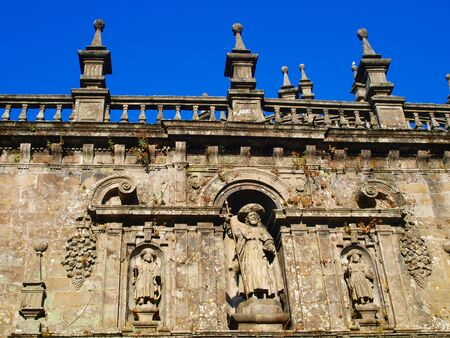 salvaging: decorative piece of wall above the entrance to the Cathedral of St. James in Santiago de Compostela in Spain