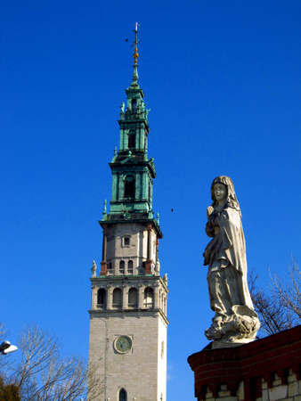 Czestochowa Jasna Gora, the view of the tower of the monastery and figures of saints on the wall around the monastery Stock Photo - 12849187