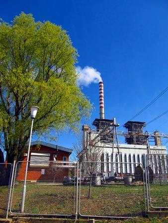 view of power plants and distribution networks and high voltage Stock Photo - 13156337