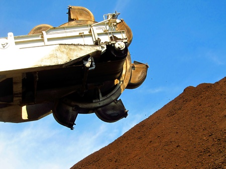 part of the backhoe to the economy of coal stackers Stock Photo