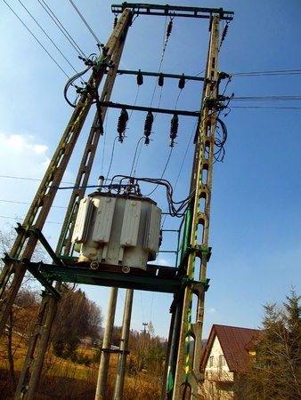 mains: low voltage transformer on the pole mains in the mountain village
