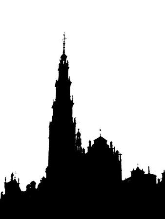 outline of the Jasna Gora monastery in Czestochowa, Poland Stock Photo