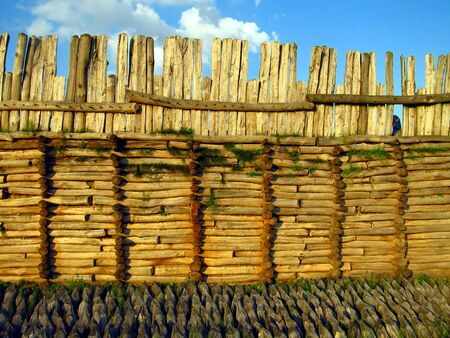 aring: fragment of a wooden defensive wall in the old village Biskupin in Poland