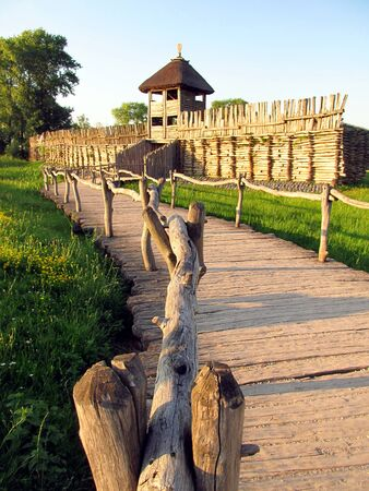 Archaeological Museum of reconstruction of the ancient wooden settlements Biskupin near Gniezno in Poland
