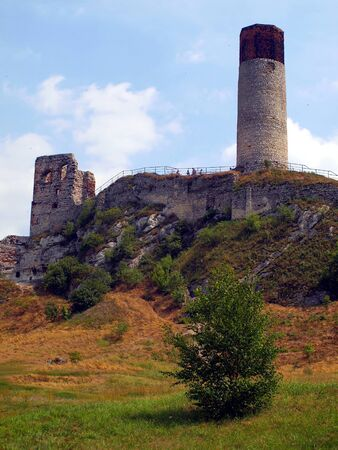 The tower and the ruins of an old castle in Olsztyn near Czestochowa in Poland photo
