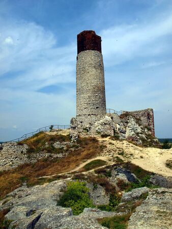 eagle nest rock: The tower and the ruins of an old castle in Olsztyn near Czestochowa in Poland
