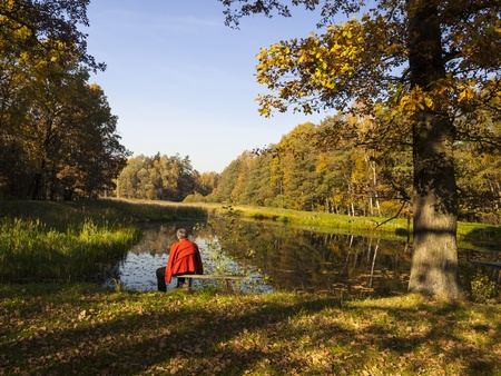 strengthening: Woman sitting on a bench by the pond in the park on a sunny autumn day