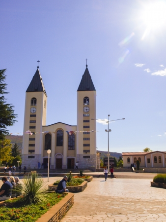 sacraments: a place of pilgrimage from all over the world, the church in Medjugorje, Bosnia and Herzegovina Stock Photo