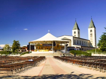 Altar and the Church of Sts. James, in a holy place of pilgrimage - Medjugorje, Bosnia and Herzegovina. Balkans, summer day.