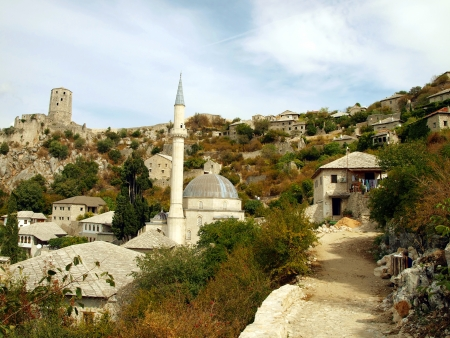 A fragment of the old city with a prominent mosque Pocitelj in Bosnia and Herzegovina in the Balkans