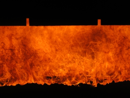 view of the fire grate boiler incinerating coal photo