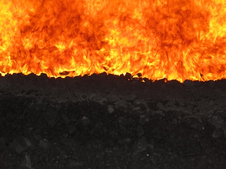 slag: view of the fire grate boiler incinerating coal