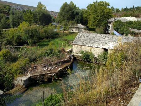 dam of water mill on the river in Blagaj Buna, near Mostar in Bosnia and Herzegovina Stock Photo - 17288921