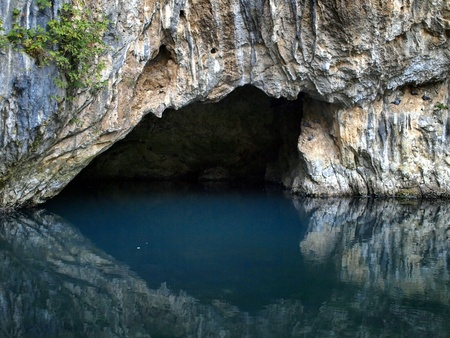 Source of the Buna river in Blagaj near Mostar where water coming out of a cave. Bosnia and Herzegovina  photo