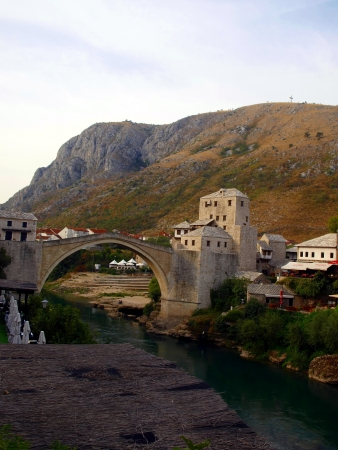 Town of Mostar and Stari Most in the evening, Bosnia and Hercegovina