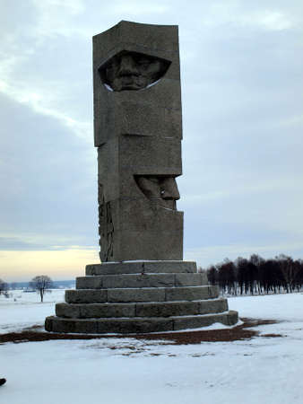 Field of Grunwald in Poland in the winter, a monument commemorating the battle and victory over the Teutonic Knights knights Polish in 1410 Stock Photo - 17554945