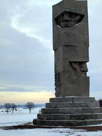 Field of Grunwald in Poland in the winter, a monument commemorating the battle and victory over the Teutonic Knights knights Polish in 1410 Stock Photo - 17554948