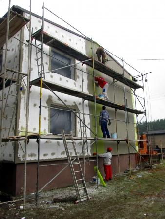 戸建の発泡スチロールの使用と外壁の断熱 写真素材 - 19202266