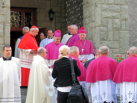 Cardinal Dominik Duka primate of the Czech Republic, Dominican and Cardinal Stanislaw Dziwisz, Archbishop of Krakow and the other bishops, prelates and priests on pilgrimage men and youths Piekary in Poland, May 26, 2013 - Preparation for the entrance to
