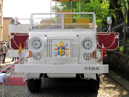 PIEKARY SLASKIE, POLAND - MAY 26: reconstruction, Polish papamobile of 1979, the first papal vehicle made outside the Vatican, shown during the pilgrimage men in Piekary Sl. on May 26, 2013 Editorial