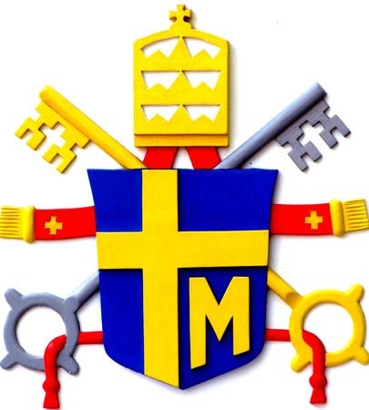 ローマ法王ヨハネパウロ 2 世の紋章付き外衣 報道画像