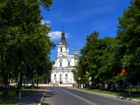 believers: The historic church of St Annes Basilica and Shrine of Our Lady of Koden along the Bug River in Poland