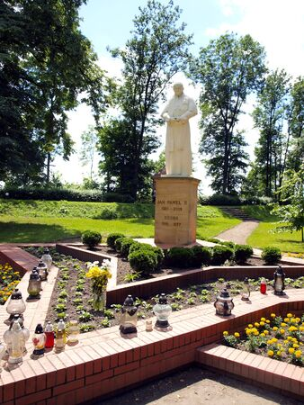 figure, statue of Pope John Paul II at the Shrine of Koden near the Bug River in Poland Editorial